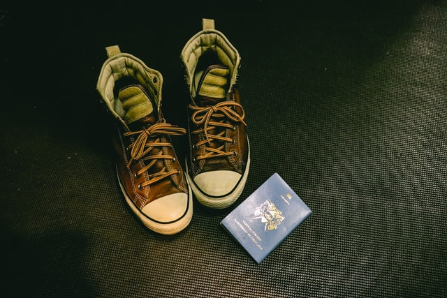 shoes and passport