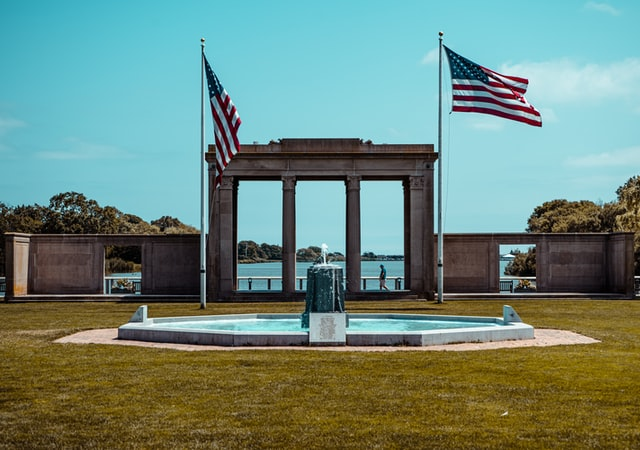 American flags in Southampton park.